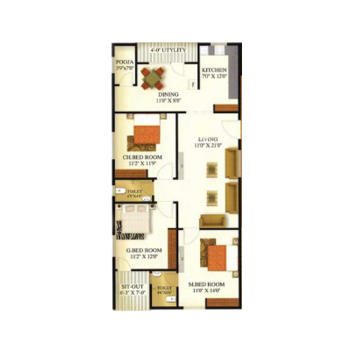 Sansarella heights floorplan 1490sqft south facing