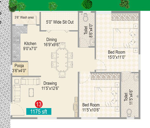 Sark Ak Heights floorplan 1175sqft west facing