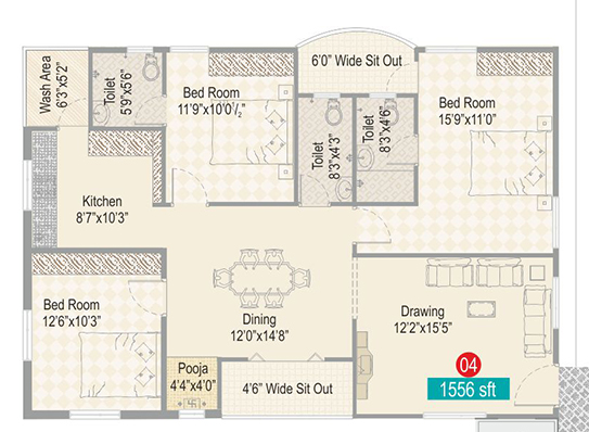 Sark Ak Heights floorplan 1556sqft west facing
