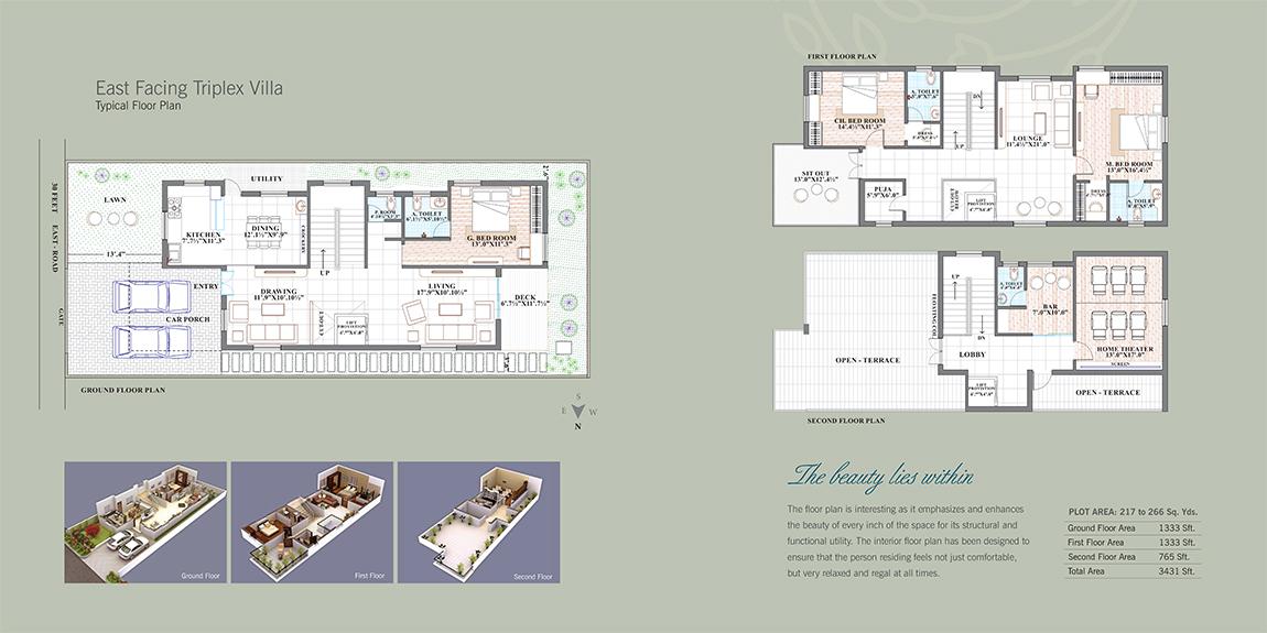 Serene Villa floorplan 3431sqft east facing