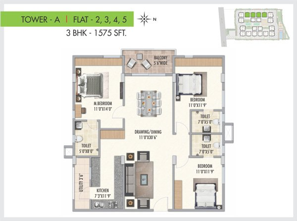 Serenity Park floorplan 1575sqft west facing