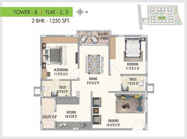 Serenity Park floorplan 1250sqft west facing