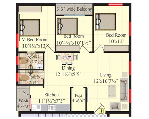 Shriya Pearls floorplan 1350sqft west facing