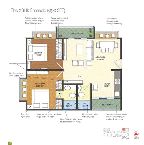 Smondo floorplan 990sqft east facing