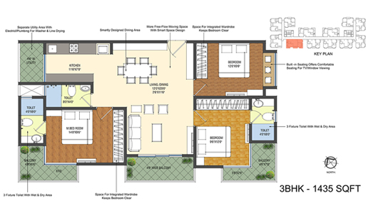 Smondo floorplan 1435sqft north facing