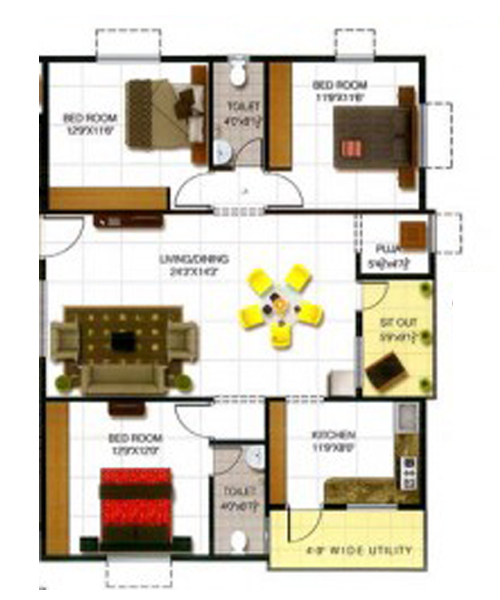 Sree Satya balaji heights floorplan 1525sqft east facing