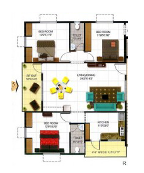 Sree Satya balaji heights floorplan 1575sqft west facing