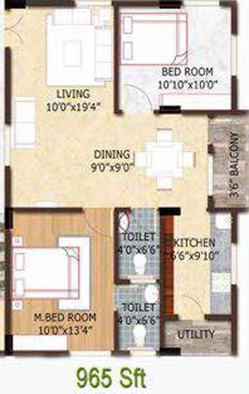 Sri Aditya Heights floorplan 965sqft west facing