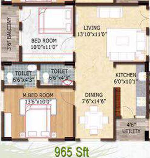 Sri Aditya Heights floorplan 965sqft east facing