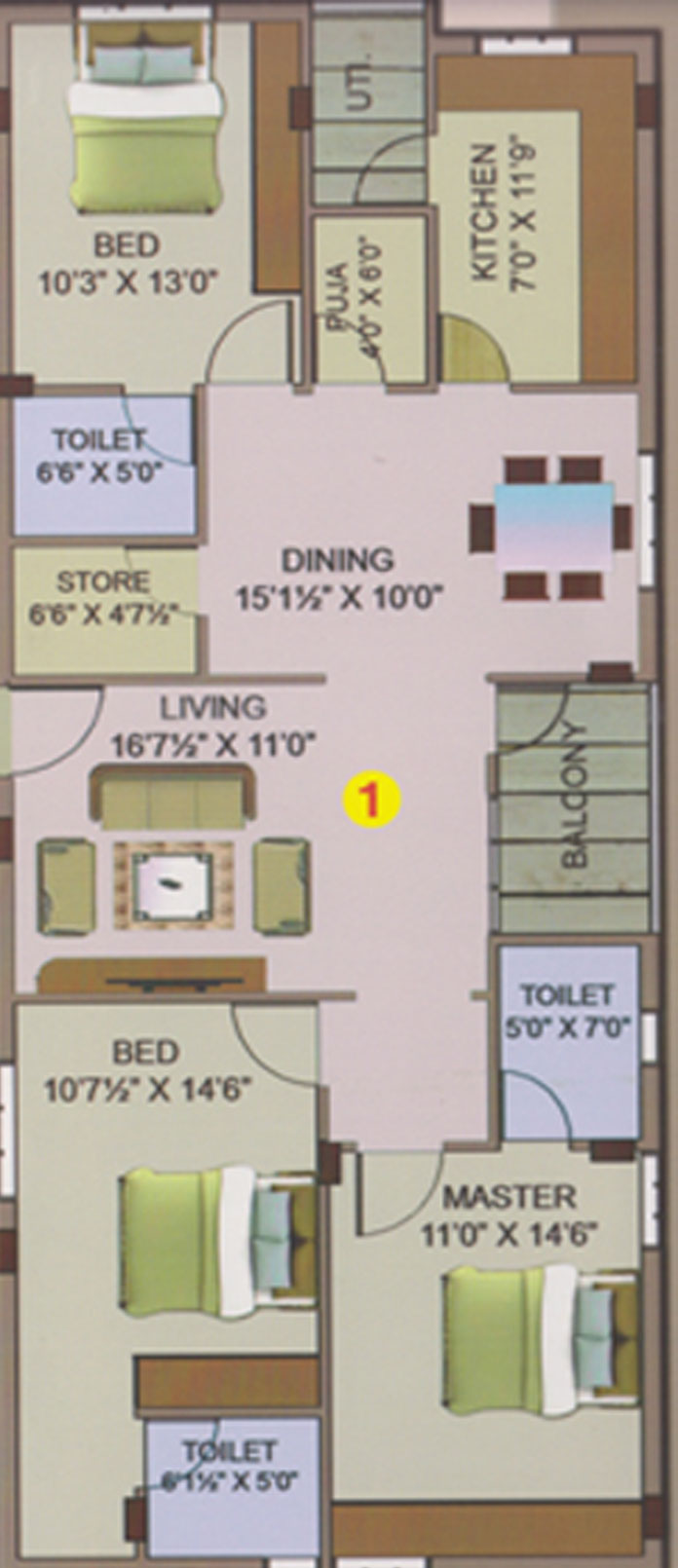 Sri Nidhi floorplan 1650sqft west facing