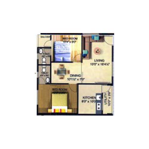 Sri Sai Srinivasa Royal Classic floorplan 1161sqft north facing