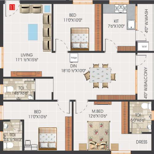 Svs avaasa floorplan 1510sqft north facing