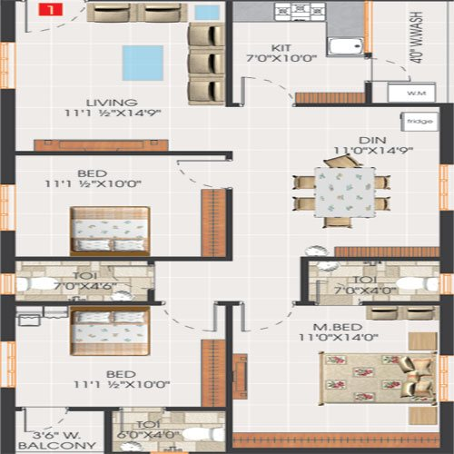 Svs avaasa floorplan 1405sqft south facing