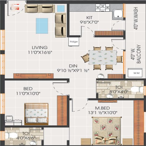 Svs avaasa floorplan 1105sqft north facing
