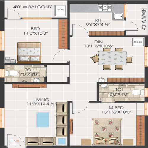 Svs avaasa floorplan 1165sqft south facing