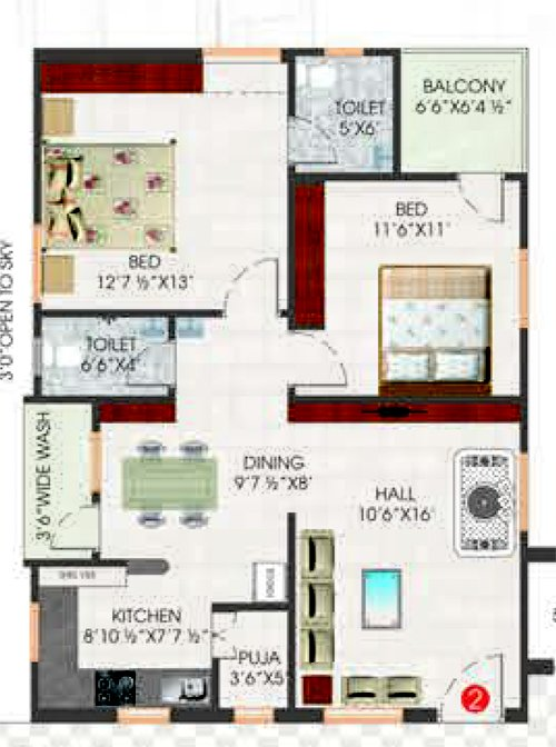 Synergy Opulence floorplan 1105sqft south facing