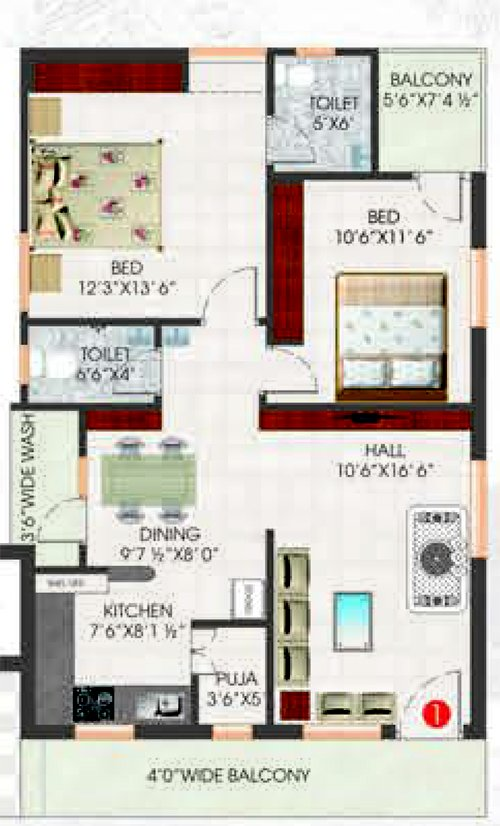 Synergy Opulence floorplan 1180sqft south facing
