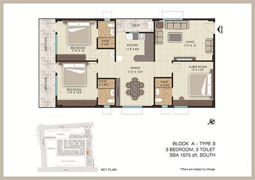 The Address floorplan 1675sqft south facing