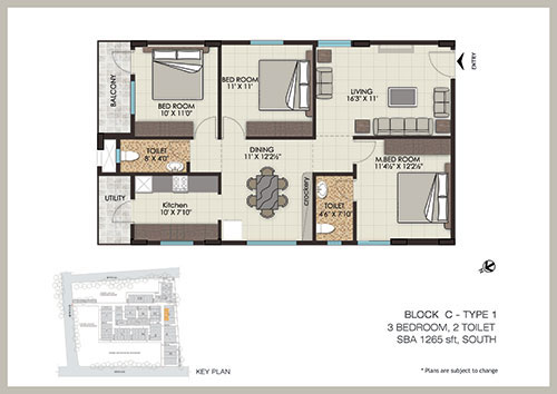 The Address floorplan 1265sqft south facing