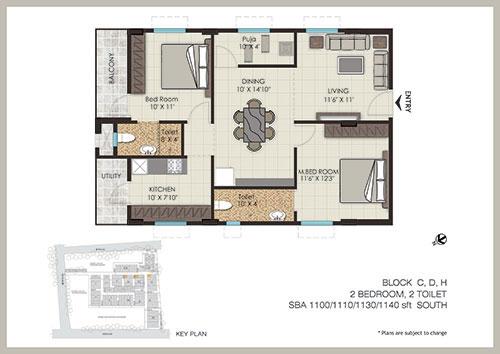 The Address floorplan 1140sqft south facing