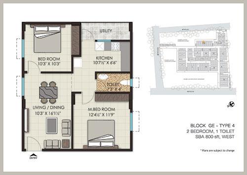 The Address floorplan 800sqft west facing