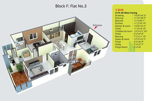 The Lawnz floorplan 2115sqft west facing