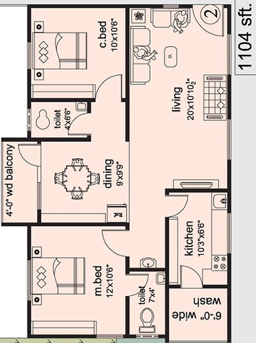 The Ocean Greens floorplan 1104sqft east facing