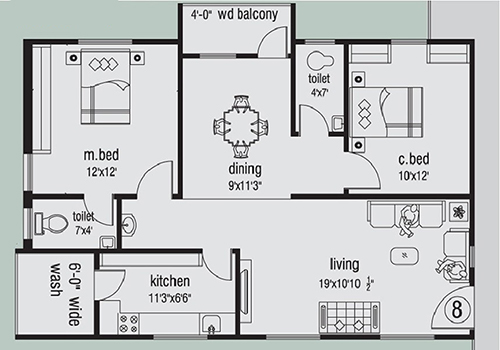The Ocean Greens floorplan 1115sqft west facing