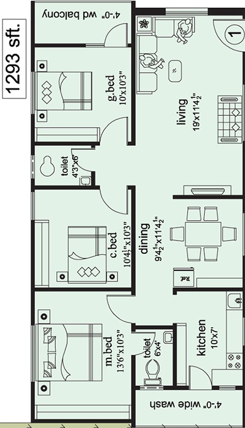 The Ocean Greens floorplan 1293sqft west facing