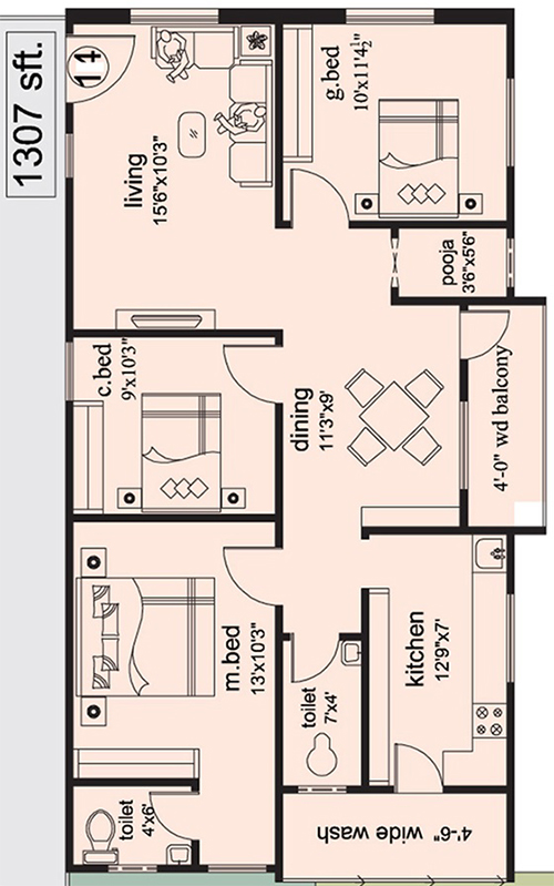 The Ocean Greens floorplan 1307sqft east facing