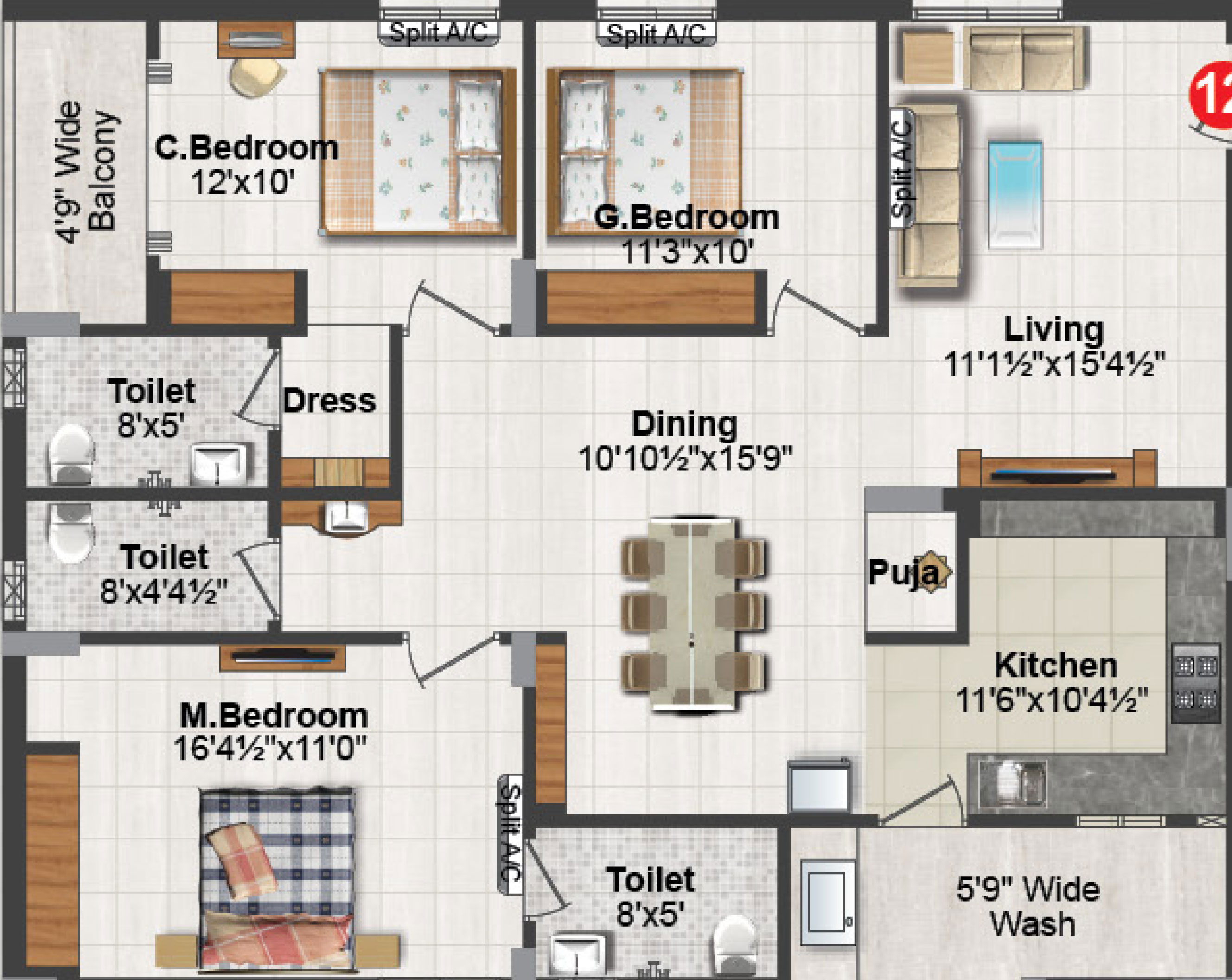 The sankalp floorplan 1705sqft north facing