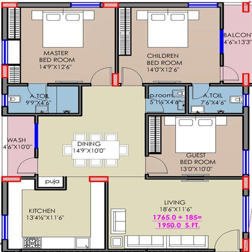 Trillium floorplan 1950sqft east facing