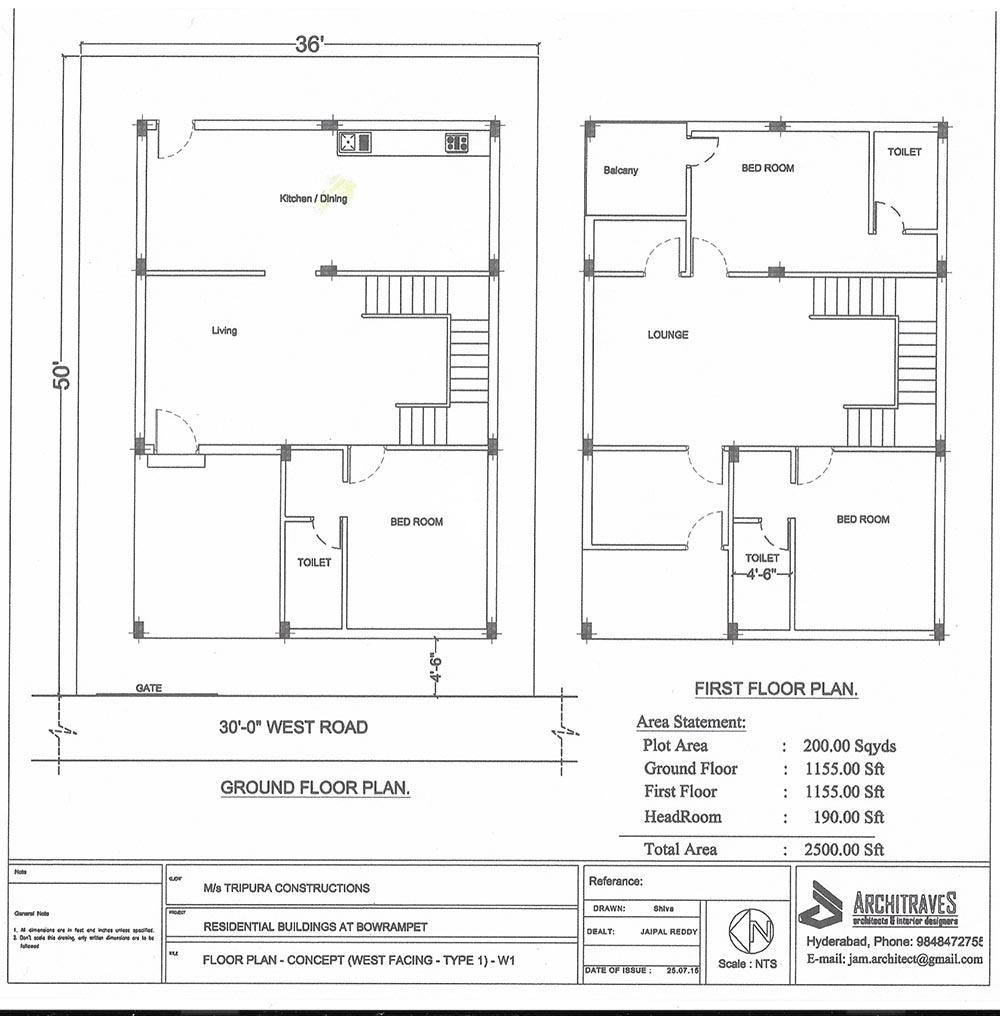 Tripura Landmark 2 floorplan 2500sqft west facing