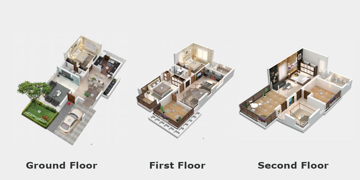 UNICON HAMLET floorplan 2295 sqft east facing