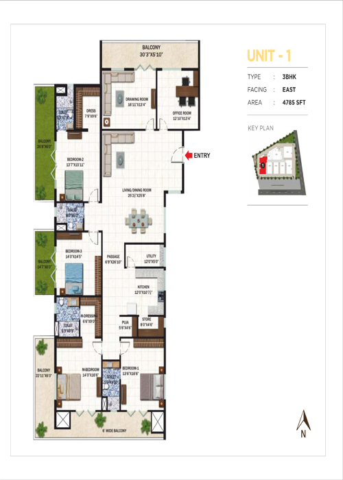 Usharam Integra floorplan 2563sqft east facing