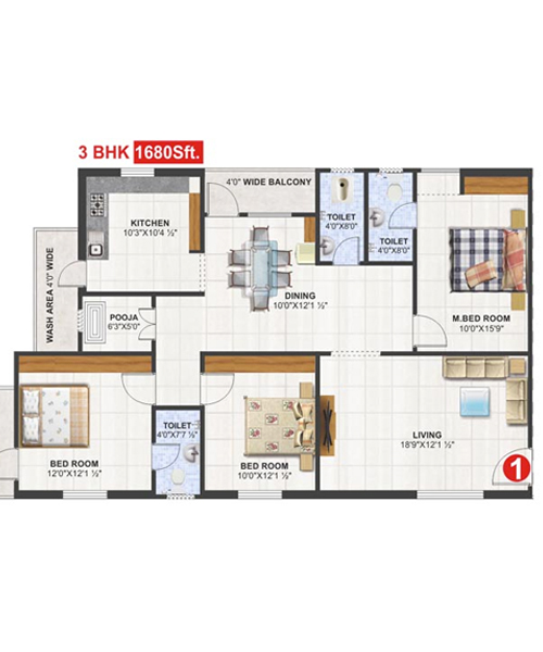 Utkarsha Abodes floorplan 1680sqft south facing