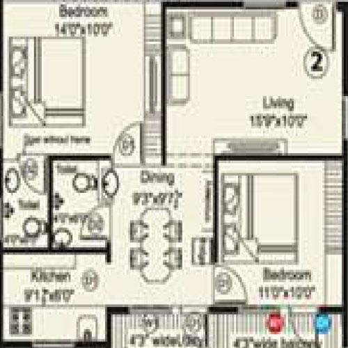Vaishno Brundavanam Vihar floorplan 1000sqft north facing