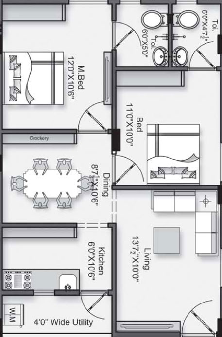 Vaishno Keerthana floorplan 1000sqft east facing