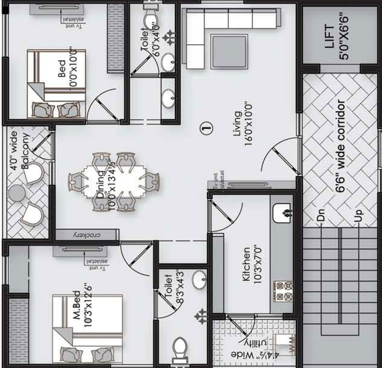 Vaishno Square floorplan 1030sqft north facing