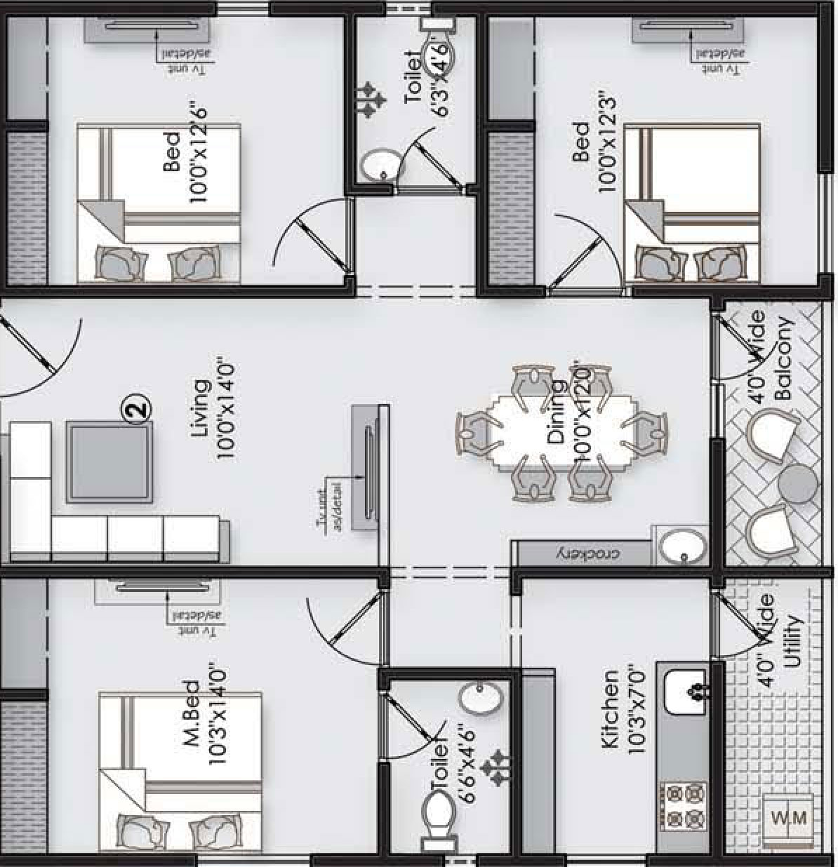 Vaishno Square floorplan 1280sqft west facing