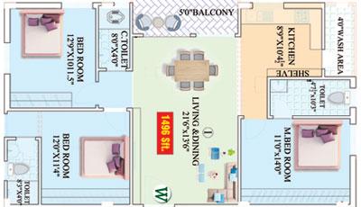 Vajras Saanvi Nilayam floorplan 1496sqft west facing