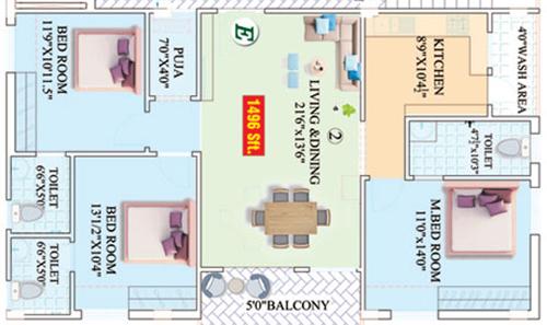 Vajras Saanvi Nilayam floorplan 1496sqft east facing