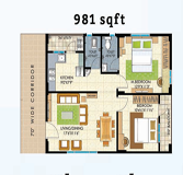 Vasathi navya floorplan 981sqft east facing