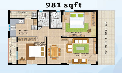 Vasathi navya floorplan 1235sqft east facing