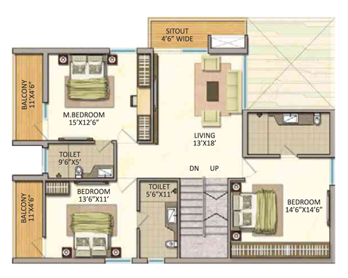 Vasavi GP Trends floorplan 2050sqft north facing