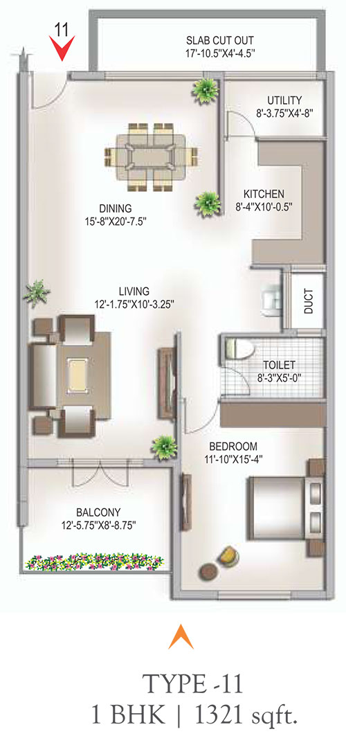 Yashaswinii Meadoows floorplan 1321sqft west facing