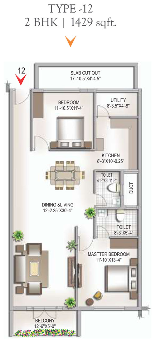 Yashaswinii Meadoows floorplan 1429sqft west facing