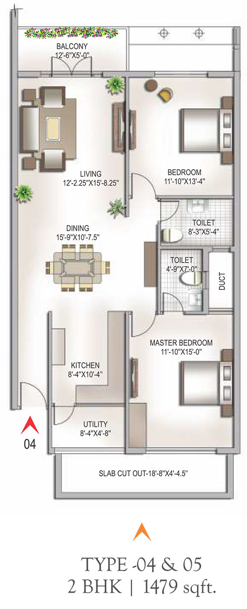Yashaswinii Meadoows floorplan 1479sqft east facing