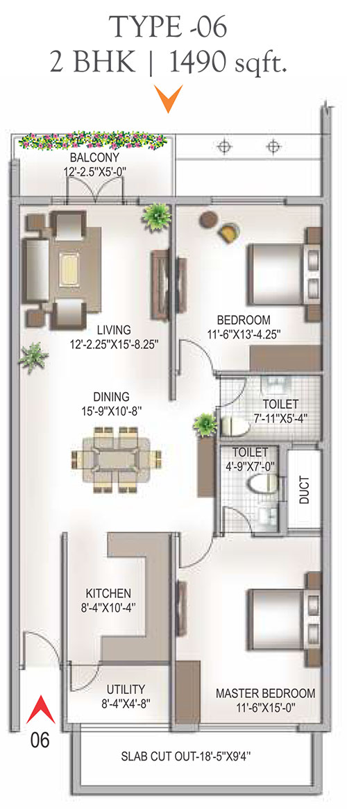 Yashaswinii Meadoows floorplan 1409sqft east facing