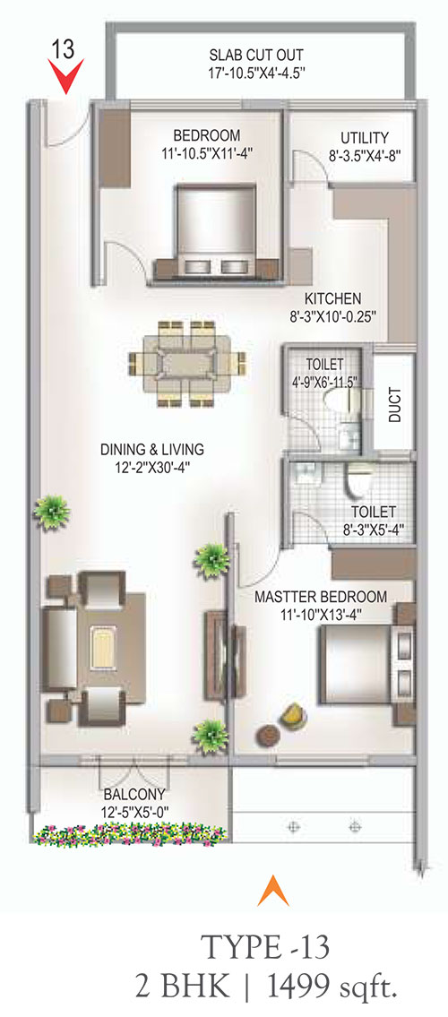 Yashaswinii Meadoows floorplan 1499sqft west facing